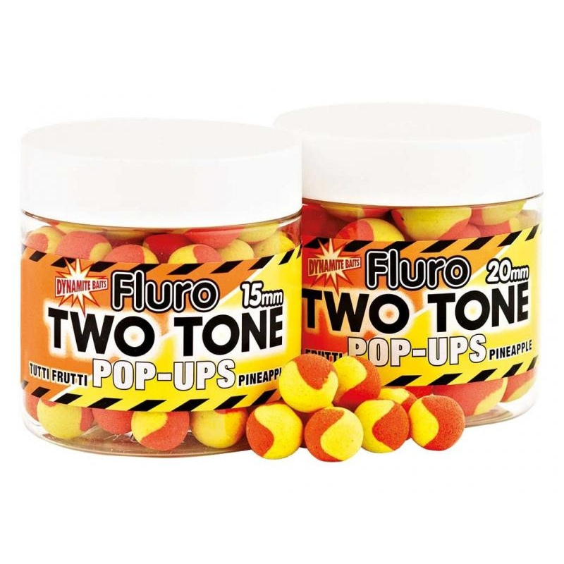 Boilid Carp-Tec Tutti Frutti ja Pineapple 15mm Fluro Two Tone Pop Ups 90g